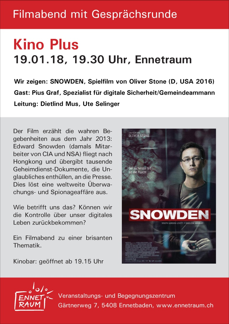 Flyer Kino Plus, Snowden, 19.01.18