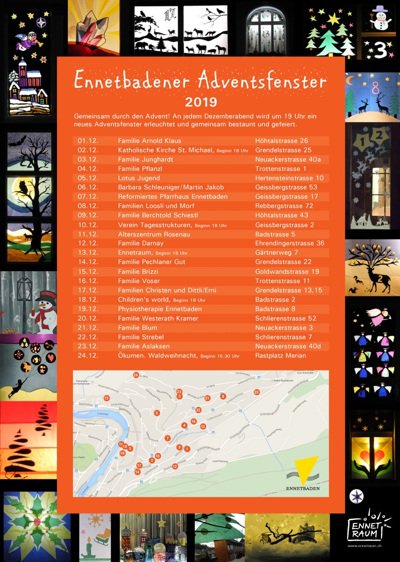 Flyer Ennetbandener Adventsfenster 2019 zum Download